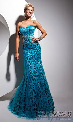 Blue Strapless Sweetheart Print dress
