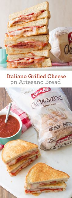 Italiano Grilled Cheese on Artesano Bread: Thick-sliced Sara Lee Artesano Bread, salami, pepperoni, Mozzarella cheese and pizza sauce combine to create a towering, pizza-inspired grilled cheese sammich.
