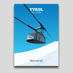 Gondola in Tyrol ski resort poster artwork design by Cocographic  Available now at displate