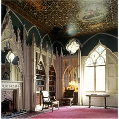 The library at Strawberry Hill. The chimneypiece and bookcases were designed by John Chute after a Wenceslaus Hollar drawing of old St Paul's.