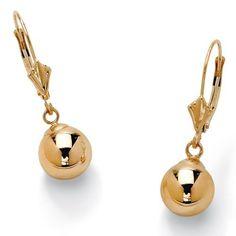 PalmBeach Jewelry 10k Yellow Gold Ball Drop Earrings 8 mm Toscana. $139.99