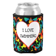 I Love Swimming Sports Editable Modern Abstract Can Cooler - trendy gifts cool gift ideas customize