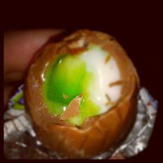 Hmm..the new #cadburys #screme #egg..#green and #weird. #halloween #foodpics