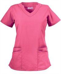 Butter-Soft Scrubs by UA™ Women's Scallop Neck Top $14.99 in Lollipop Pink