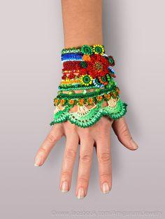 Crochet Beaded Bracelet Cuff. Crochet Jewelry. Freeform Crochet Cuff. Green Blue Yellow Red Orange Crochet Bracelet.