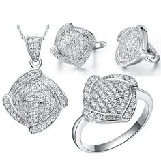 Big Sale Bridal Jewelry Sets Real White Gold Color Brand Set With SquareAAA Zircon Necklaces & Pendants/Earring/Ring