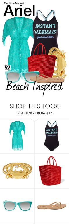 """Beach Inspired - The Little Mermaid"" by wearwhatyouwatch ❤ liked on Polyvore featuring Despi, New Look, Alex Monroe, Sensi Studio, Red Camel, Tkees, disney, wearwhatyouwatch, film and beachinspired"