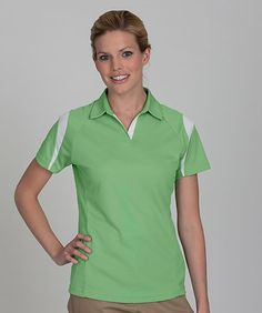 Women's Lightweight Contrast Accent Sports Polo Shirt. 5610 Description  100% Recycled Polyester; 5.45 oz. wt. Lightweight and sporty, Raglan sleeve for comfortable fit, Self collar with open neck, Contrasting sleeve, shoulder and inner placket, Anti-fade, wrinkle resistant and easy care, Machine washable.  Care Instruction  Machine Wash with similar colors Cold, Do Not Bleach, Hang to dry
