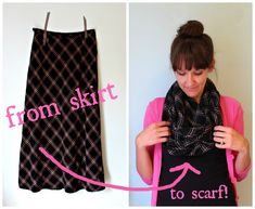 skirt to scarf refashion. my trips to goodwill just went up a ho nuva leval....