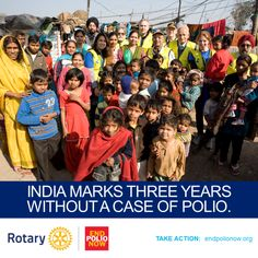 Today, India marks 3 years without a case of polio. Thanks to millions of vaccinators and millions of vaccines, India is polio-free--a true testament to the power of vaccines!  It's time to #endpolio forever. India proves it can be done. https://www.facebook.com/photo.php?fbid=594508957289656&set=a.368963333177554.83044.360105944063293&type=1&theater