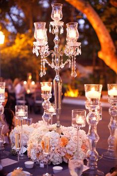 Elaborate candelabra and floral centerpiece. Gives you a feeling of royalty! So beautiful!