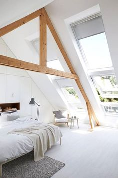 enhancing sloped ceilings with addle exposed beams