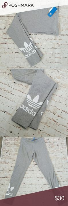 🆕 Adidas trefoil leggings grey Adidas Clothing Size Guide A street chic staple! Slim fit throughout. Elastic waistband creates a comfortable fit. Trefoil detail on cuffs. 93% cotton, 7% spandex. Adidas Pants Leggings