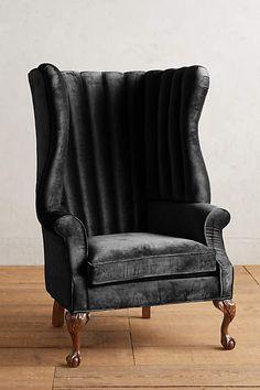 Slub Velvet English Fireside Chair - anthropologie.com