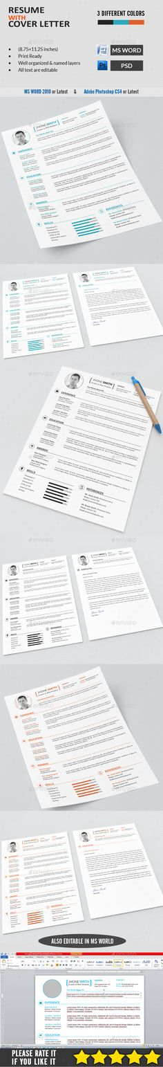 133 best Editable Modern Resume Templates images on Pinterest - different resume templates