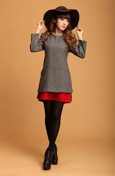 $34.64  Korean OL wild long-sleeved woolen dress