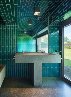 Buchner Bründler Architekten - Renovation of a house originally designed by Justus Dahinden in the late Greifensee Photos © Ruedi Walti. Best Bathroom Colors, Bathroom Color Schemes, Modern Bathroom Tile, Contemporary Bathroom Designs, Mosaic Bathroom, Modern Bathrooms, Bathroom Ideas, Pink Bathroom Accessories, Kitchen Design Open