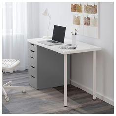 LINNMON / ALEX Table, white, gray, 47 Pre-drilled leg holes for easy assembly. Bedroom Desk, Small Room Bedroom, Bedroom Furniture, Dark Interiors, Shop Interiors, Ikea Linnmon, Ikea Desk, Dreams Beds, White Desks
