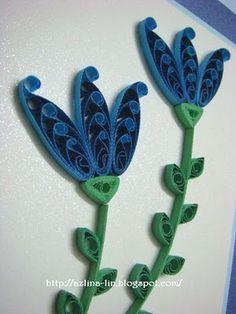 Lin Handmade Greetings Card: Twisted blue flowers