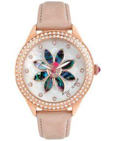 Betsey Johnson Women's Rose Gold-Tone Floral Leather Strap Watch 40mm BJ00443-02   macys.com