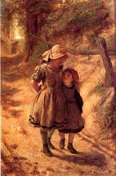 $75 US Girls' cotton ensemble: Dress, pinafore apron and bonnet. Original: ~Frederick Morgan (British, 1856-1927)~