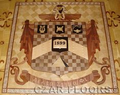 Example Picture of Custom Fraternity Crest, Photos of custom Wood floors, medallions, inlays, borders and parquet. Fish Scale Tile, Stone Flooring, Floor Design, Fraternity, Custom Wood, Floors, Marble, Bathroom, Gallery