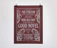 Jane Auten quote (handrawn!!!) poster by ChattyNora, approximately twenty four USD.