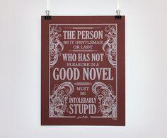 Enjoy a good book  Jane Austen Quote  Pen drawn by ChattyNora, £10.00