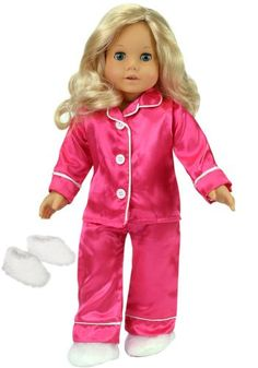 18 Inch Doll Clothing, Hot Pink Satin Doll Pj's with White Slippers, Doll Pajamas Set Fits American Girl Dolls Sophia's,http://www.amazon.com/dp/B004LC1QE2/ref=cm_sw_r_pi_dp_2GFWsb1PPPGKQTS6