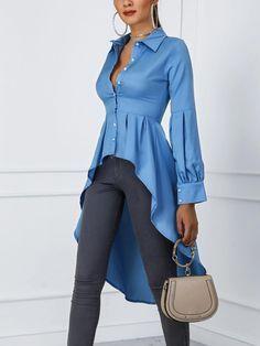 Blusas cola de pato · manga linterna botón diseño dip hem blusa (s/m/l/xl) Trendy Fashion, Womens Fashion, Fashion Trends, Ladies Fashion, Fashion Fashion, Feminine Fashion, Fashion Styles, Minimalist Fashion, African Fashion