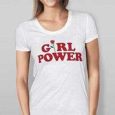 Womens Girl Power Rose T Shirt  bleu  blanc  noir  taille