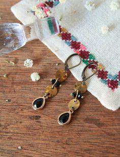 Earrings ear old gold and black stone, sleepers earrings, romantic Bohemian, Made in Paris