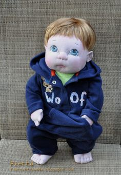 Lifesize 22 tall Soft Sculpture Baby Boy. by FrettasLovableDolls, $238.00
