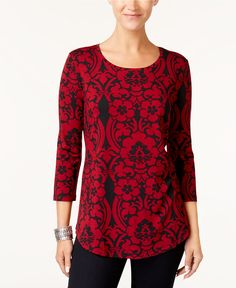JM Collection Printed T-Shirt, Created for Macy's - Tops - Women - Macy's