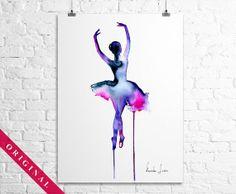 Ballerina Dancer  Original Watercolor by WatercolorOriginal, $80.00