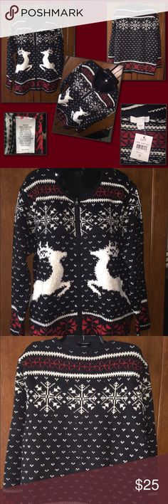 Ugly Christmas Sweater By J. Jill Christmas Sweater BNWT. Zips up the front. J. Jill Sweaters Cardigans