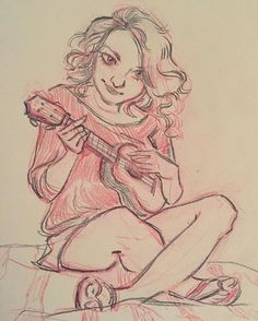 I've been feeling that something is missing in my art for a long time now. So I've decided to start drawing more from reference to improve anatomy and poses in my drawings ✍️✍️ (the photos I used can be found here: http://pinterest.com/enitss/reference-used/) #art #sketch #girl #ukulele #girl #artistoninstagram #citrusbookbindery