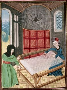 British Library, Royal 17 E IV, detail from f. 87v - 'Pallas and Arachne at the loom'. Ovid, Metamorphoses (second anonymous French translation - Ovide moralisé). S. Netherlands, last quarter of the 15th century.