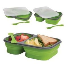 Dci Large Collapsible Lunch Box, Assorted Green And Orange Colors