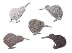 This Flock of 5 Kiwi Birds Wall Art is something I have wanted for such a long time. to be able put bunch on the wall in different poses. Kiwi Bird, Bird Wall Art, Flocking, New Zealand, Home And Garden, Birds, Prints, Fun Things, Home Decor