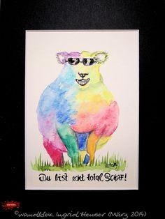 """No. 029 der wandklex-Unikatserie """"Ich war schon immer das Bunte Schaf der Familie"""" - nummerierte Einzelstücke! Ihr eigenes Schaf können Sie als Ihr Designerstück von wandklex® Ingrid Heuser, Ratzeburg, Germany bestellen:  im kleinen Klexshop bei DaWanda auf http://de.dawanda.com/shop/wandklex ©  Kunstatelier wandklex Ingrid Heuser, D-Ratzeburg Besuchen Sie mich auch auf facebook: https://www.facebook.com/wandklex"""