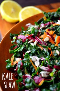 Kale Slaw with Lemon Sesame Dressing | The View from Great Island