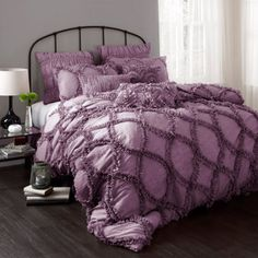 Purple-hued comforter set with a ruffled design. Product: Queen: 1 Comforter and 2 standard shamsKing: 1 Comforter and 2 king shamsConstruction Material: PolyesterColor: Purple Dimensions: Queen Comforter: x King Comforter: x Cleaning and Care: Dry clean Purple Bedspread, Purple Comforter, Ruffle Bedding, Queen Comforter Sets, Bedding Sets, Chic Bedding, Console, Shabby Chic Bedrooms, Beautiful Bedrooms