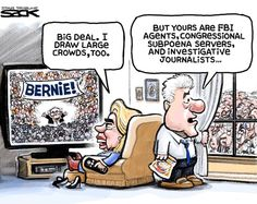 Sack cartoon: Hillary Clinton and Bernie Sanders.. another part of this joke for me is that those are living together.