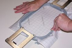 Hooping the Sticky machine embroidery stabilizer.
