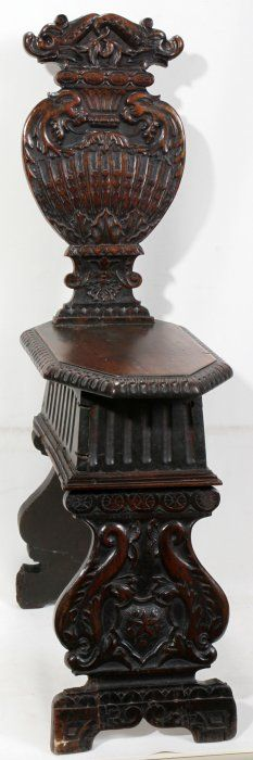 ITALIAN CARVED WALNUT ANTIQUE MONASTERY CHAIR, Griffins and dolphins