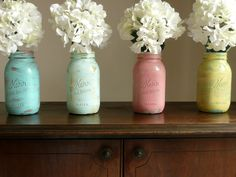 Paint mason jars with rainbow colors. Hand Painted and Distressed Shabby Chic Mason Jar by BeachBlues Mason Jar Vases, Mason Jar Crafts, Diy Jars, Distressed Mason Jars, Home Decor Sale, Painted Mason Jars, Arte Floral, Just In Case, Shabby Chic