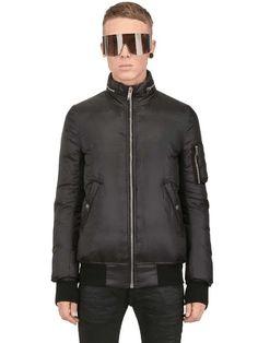 Rick Owens | NUALUX NYLON FLIGHT BOMBER JACKET #black #bomber #jacket #mensstyle #mensfashion #rickowens