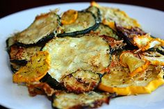 Zucchini and summer squash chips... This recipe looks better than the last one I tried.