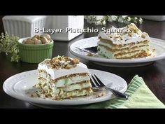 These 8-Layer Pistachio Squares are going to be the highlight of your meal! This dessert recipe is filled with delicious pistachio nuts and creamy whipped topping, making it the perfect recipe to bring to your church potluck, or simply to your next family outing. Make it ahead of time for all the flavor and no fuss. Cold Desserts, Frozen Desserts, No Bake Desserts, Dessert Recipes, Pistachio Dessert, Savory Herb, Boston Cream Pie, Perfect Food, Church Potluck